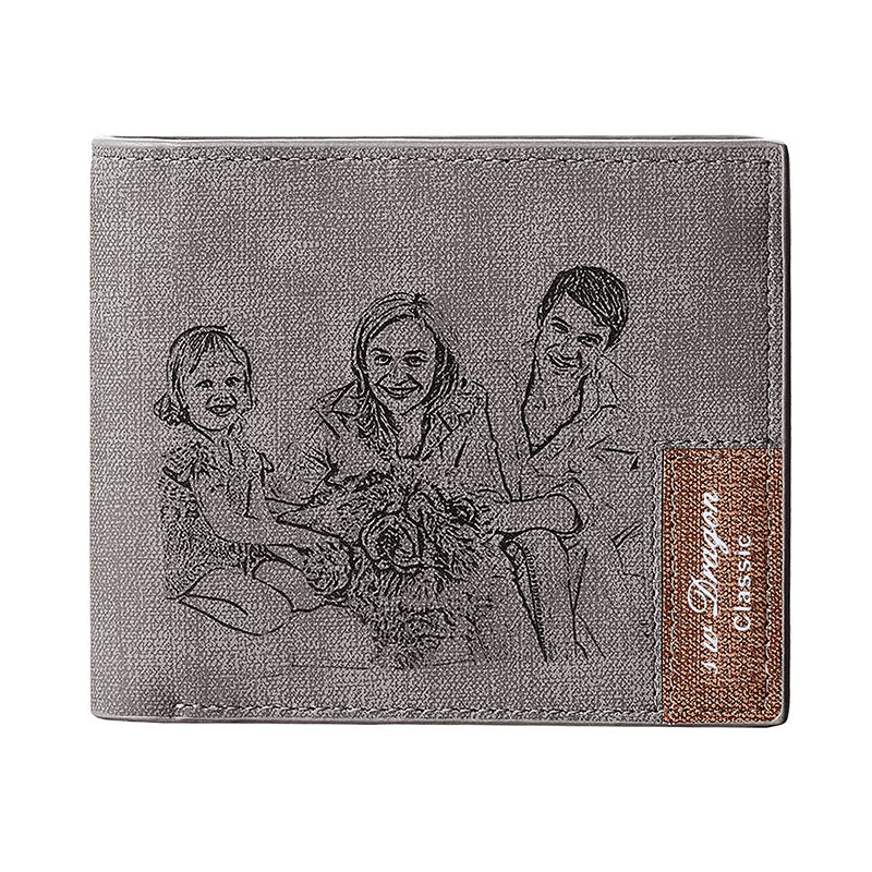 Genuine Leather Engraving Photo Name Wallet