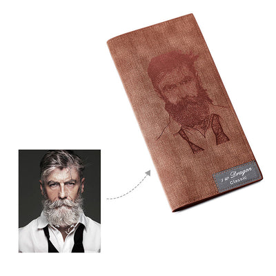 Genuine Leather Personalized Engraving Photo Name Women's Long Wallet