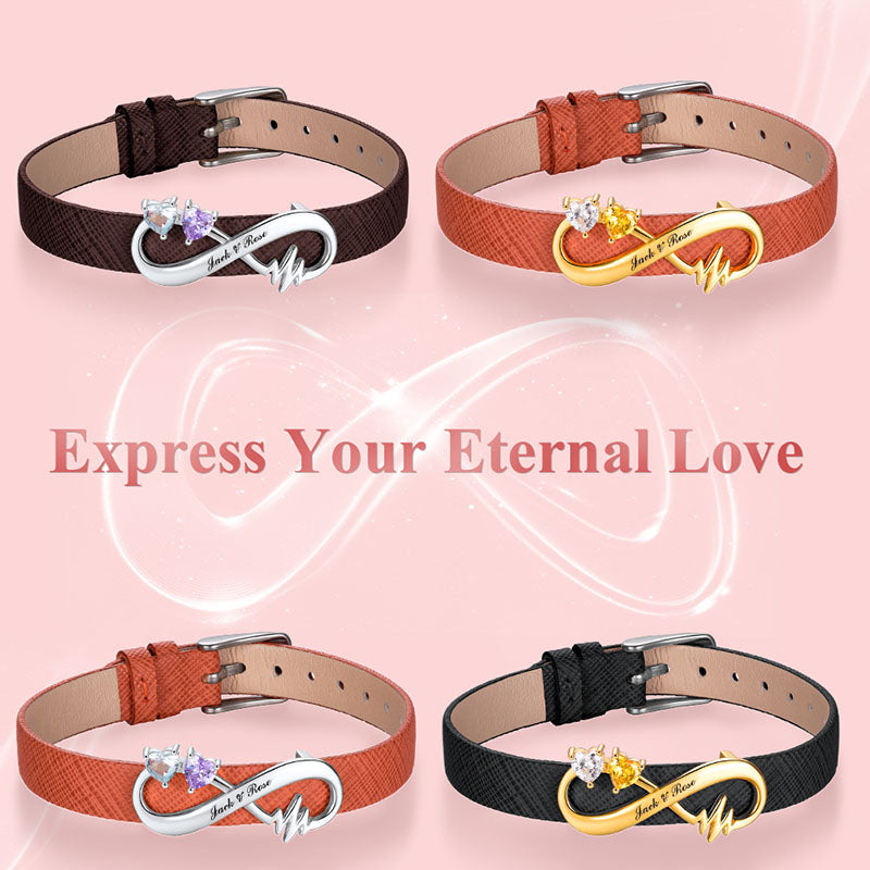 Infinity Leather Bracelet with Two Birthstone Personalized Name Gift