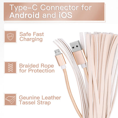 Lighting USB Cable Tassel Key Chain Compatible With iPhone Android