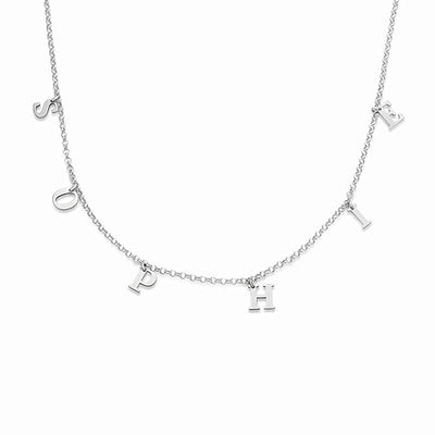 Silver Personalized Name Tiny Initial Choker Necklace