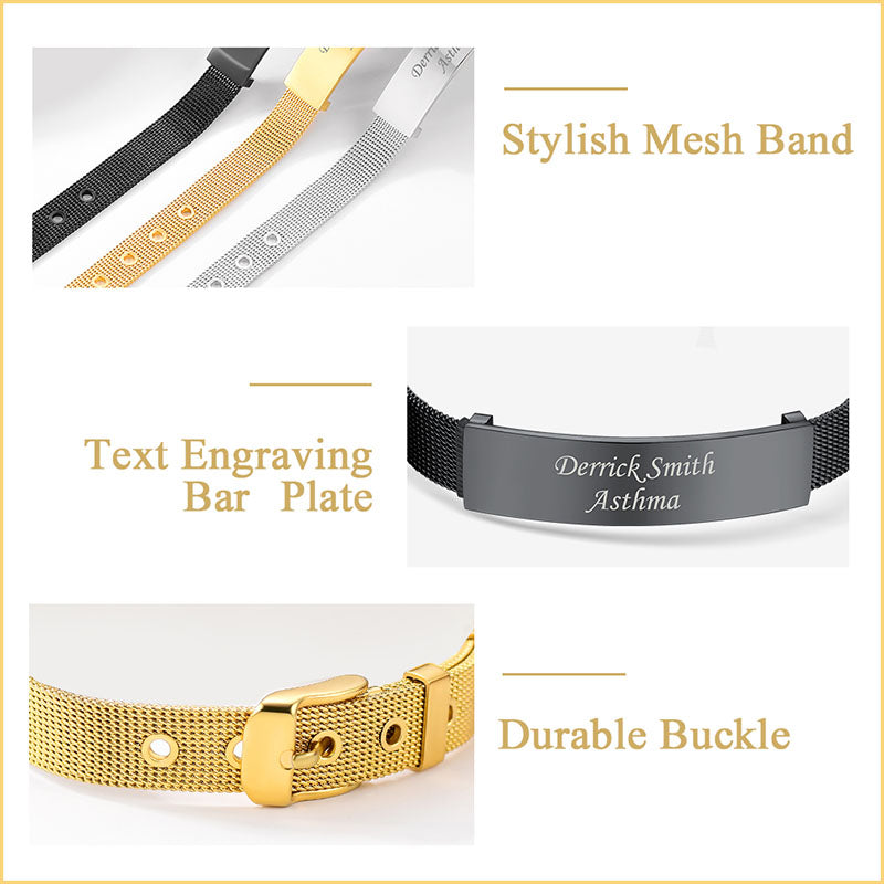 Nameplate Reflections Mesh Bracelet Adjustable Engraving ID Bangle