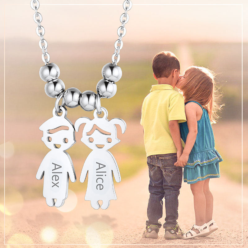 Personalized Engraving Two Kids Name Charm Necklace Gifts For Mother
