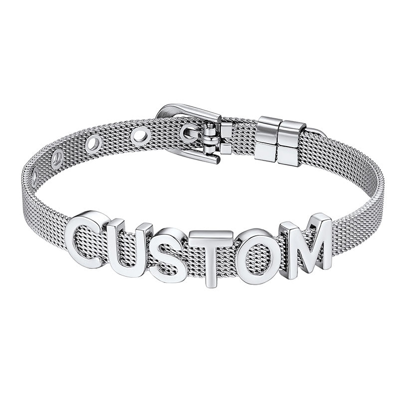 Personalized Initial Name Charm Reflections Flat Mesh Bracelet For Her
