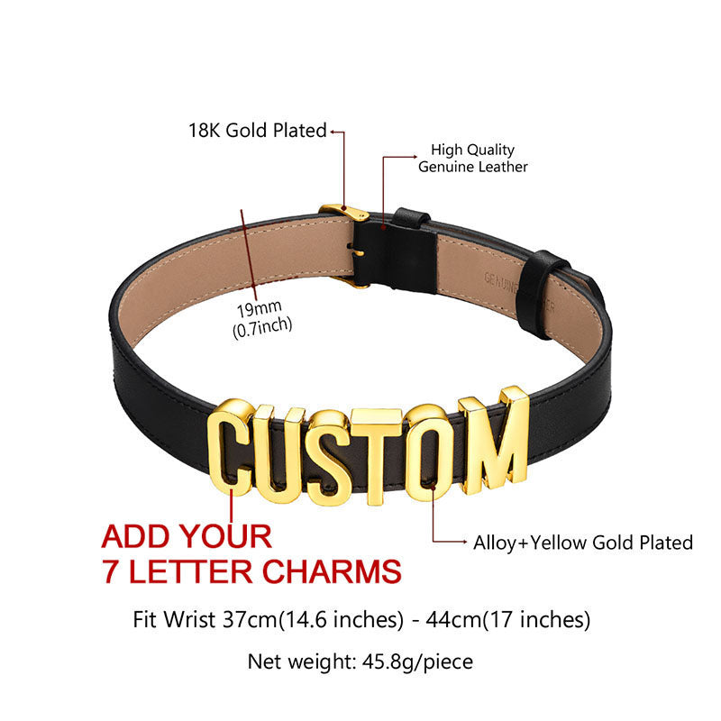 Personalized Letter Genuine Leather Choker Name Collar Gifts For Her