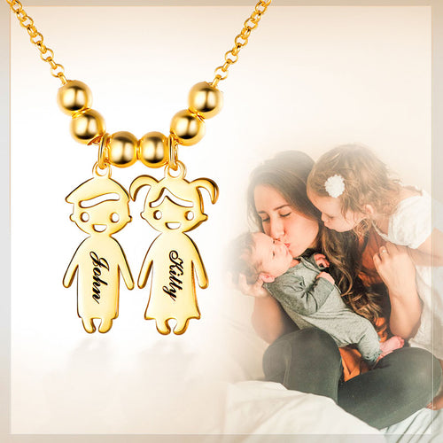 Personalized Mother's Necklace with Engraved Double Children Charms