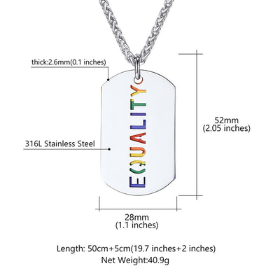 Gay Pride Pendant Military Style Dog Tag Equality Stainless Steel with Chain
