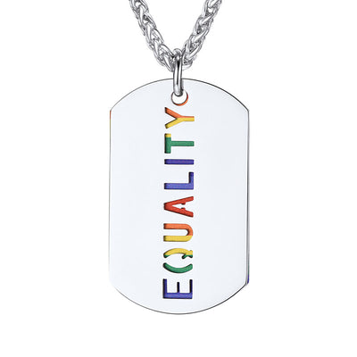 Rainbow LGBT Gay Pride Necklace Engraving Equality Military Dog Tag
