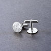 Round Monogram 925 Sterling Silver Personalized Name Cufflinks For Men