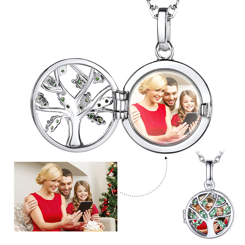 Silver Family Tree of Life Charm Custom Engraved Photo Locket Necklace