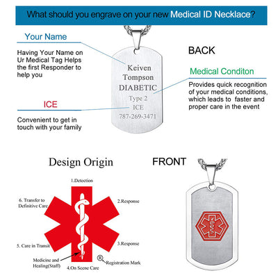 Custom4u Emergency Medical ID Dog Tags For Him Personalized Gifts