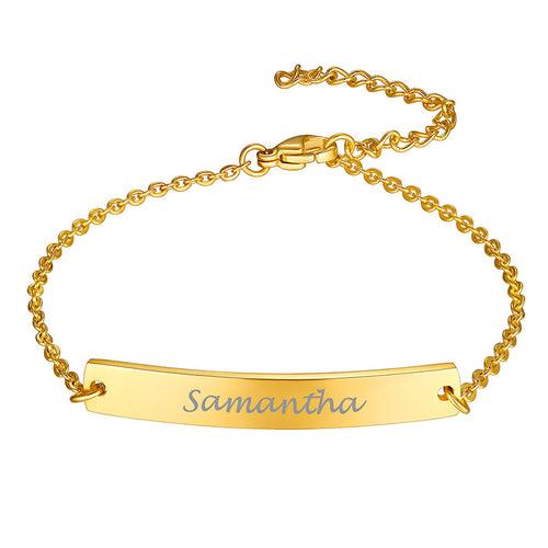 Stainless Steel Engraving Nameplate Chain Bracelet Personalize Gift
