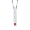 Stainless Steel Personalized Birthstone Engraving Cylinder Necklace