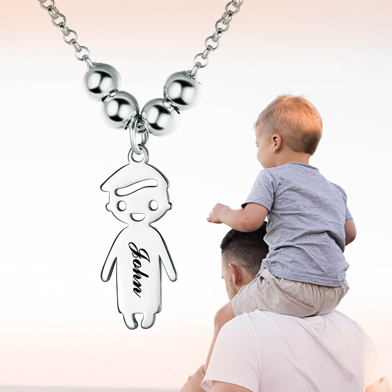 Sterling Silver Custom Boy Engraving Name Necklace Gifts For Mother