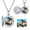 Sterling Silver Custom Round Engraving Words Photo Locket Necklace