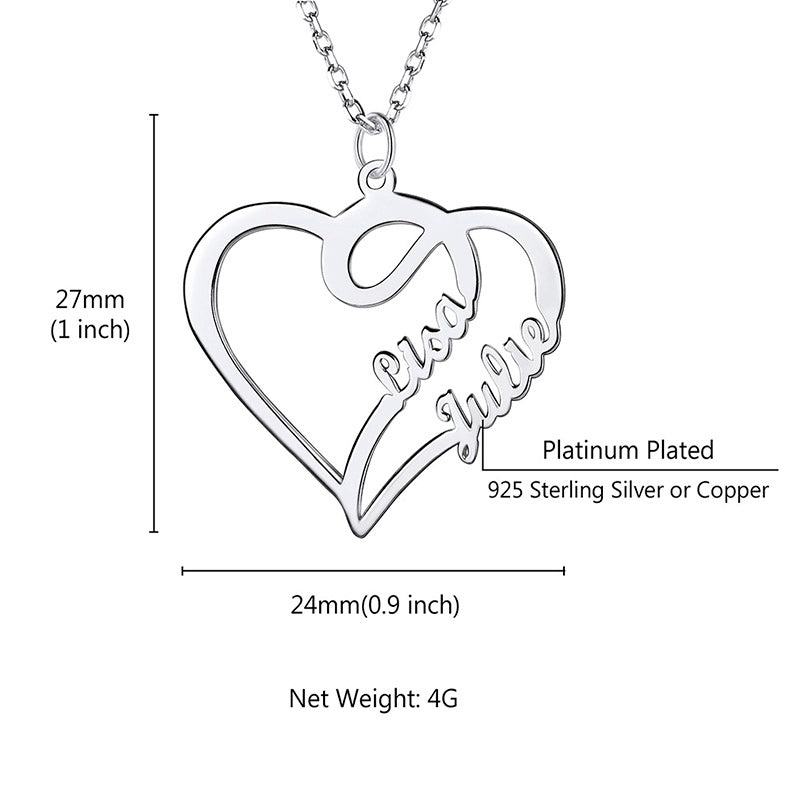 Sterling Silver Double Heart Necklace Two Names Personalized Jewelry