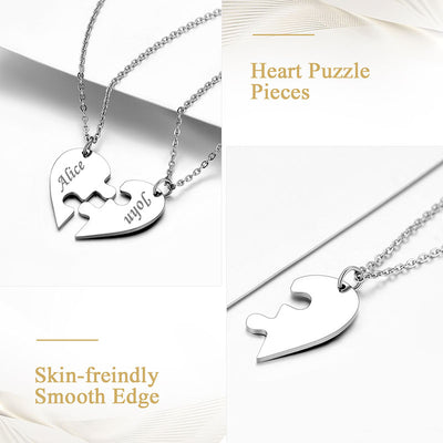 Two Personalized Puzzle Couple Necklace