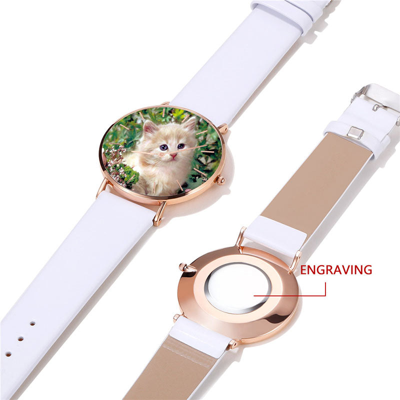 Unisex White Leather Rose Gold Personalized Engraving Photo Watch