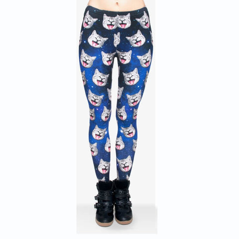 Galaxy Grey Cat - Kukubird_uk Leggings, Tights