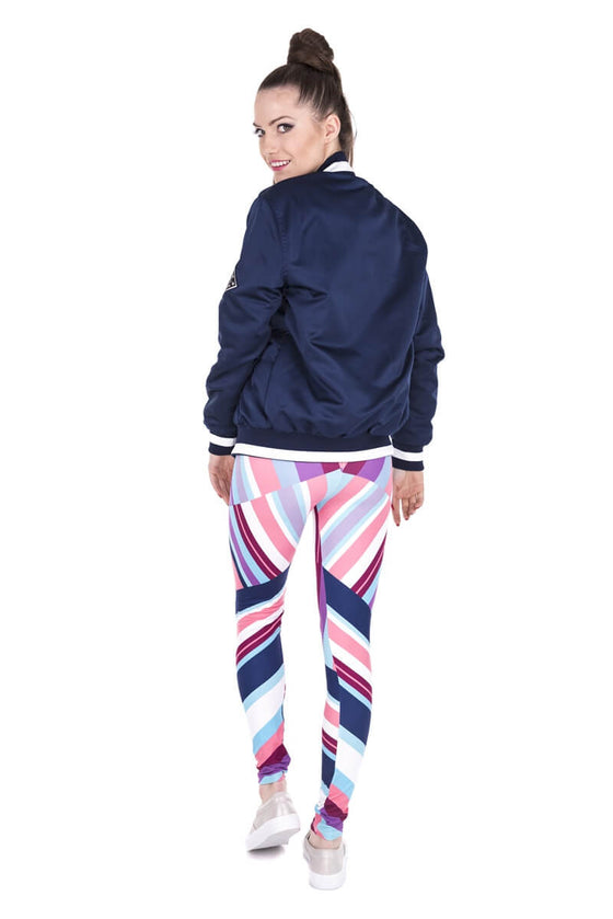 Regular Leggings (8-12 UK Size) - Geometric Stripes Blue - Kukubird_UK