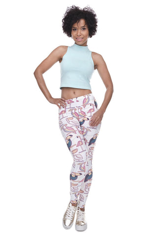 Regular Leggings (8-12 UK Size) - Geometric Toucan - Kukubird_uk Leggings, Tights