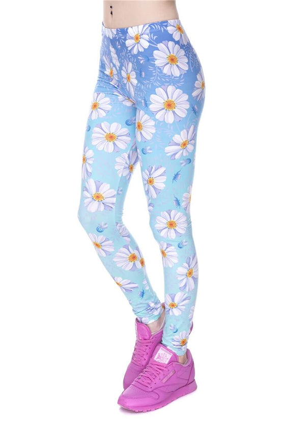 Regular Leggings (8-12 UK Size) - Daisy Blue Ombre - Kukubird_UK