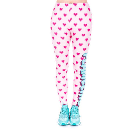 Regular Leggings (8-12 UK Size) - Flamezing Hearts - Kukubird_uk Leggings, Tights