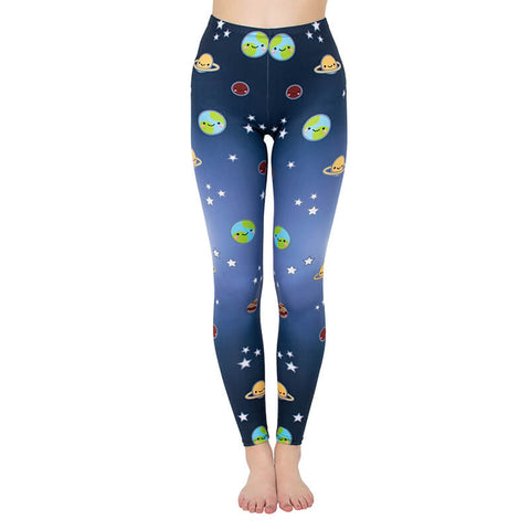 Regular Leggings (8-12 UK Size) - Cute Planet - Kukubird_uk Leggings, Tights
