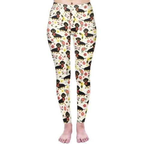 Regular Leggings (8-12 UK Size) - Floral Dachshunds with Scarves - Kukubird_uk Leggings, Tights