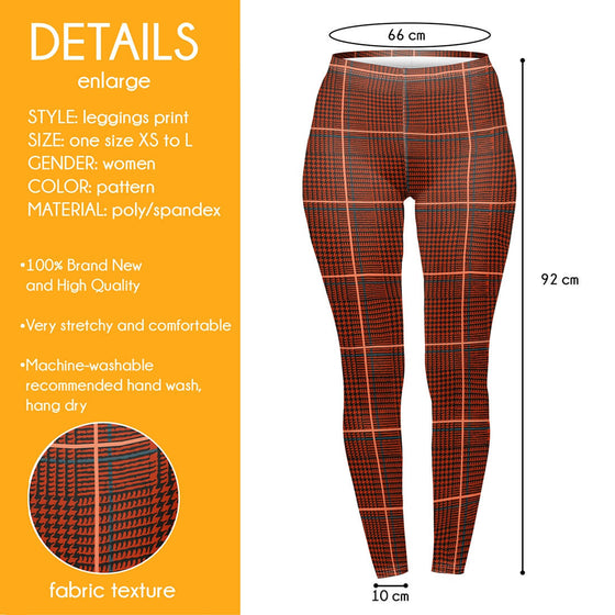 Regular Leggings (8-12 UK Size) - Burnt Tartan - Kukubird_UK