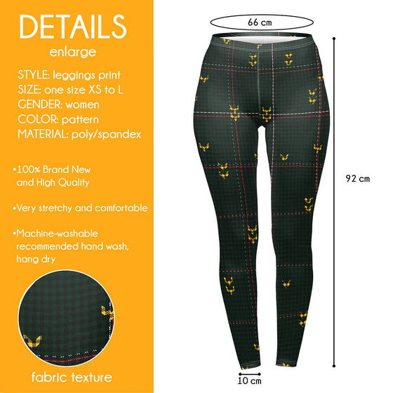 Regular Leggings (8-12 UK Size) - Deep Wood Check - Kukubird_UK