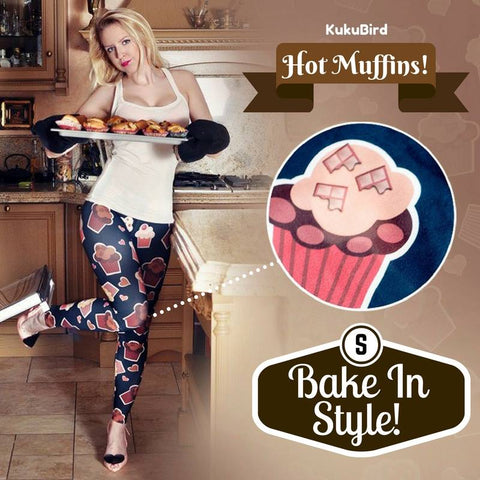 Regular Leggings (8-12 UK Size) - Muffins - Kukubird_uk Leggings, Tights