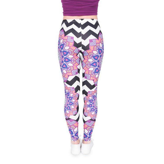 Regular Leggings (8-12 UK Size) - Mandala ZigZag - Kukubird_UK