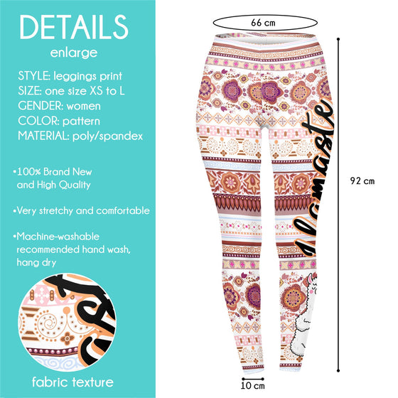 Regular Leggings (8-12 UK Size) - Llamaste - Kukubird_UK