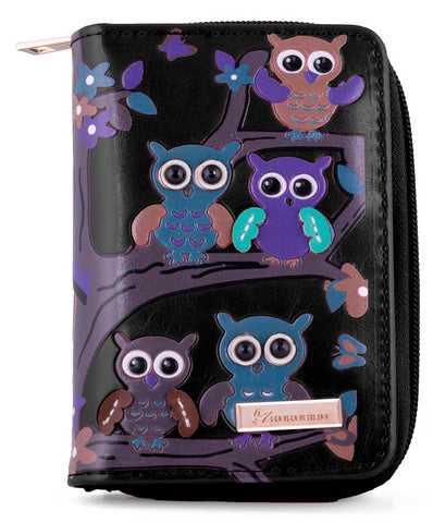 Kukubird Medium Purse Owl's in Tree - Black - Kukubird_uk Leggings, Tights