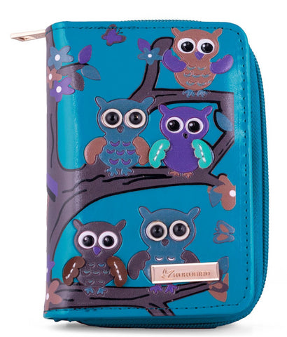 Kukubird Medium Purse Owl's in Tree - Blue - Kukubird_uk Leggings, Tights