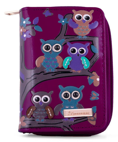 Kukubird Medium Purse Owl's in Tree - Purple - Kukubird_uk Leggings, Tights