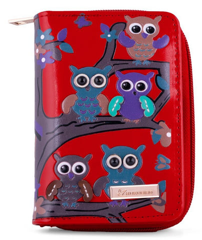 Kukubird Medium Purse Owl's in Tree - Red - Kukubird_uk Leggings, Tights