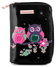 Kukubird Medium Purse 2 owl's on Branch - Black - Kukubird_UK