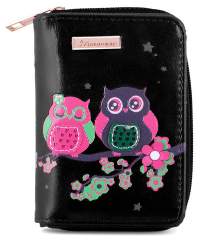Kukubird Medium Purse 2 owl's on Branch - Black - Kukubird_uk Leggings, Tights