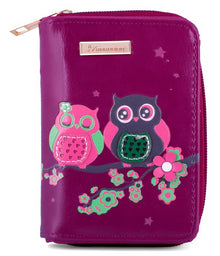 Kukubird Medium Purse 2 owl's on Branch - Purple - Kukubird_UK