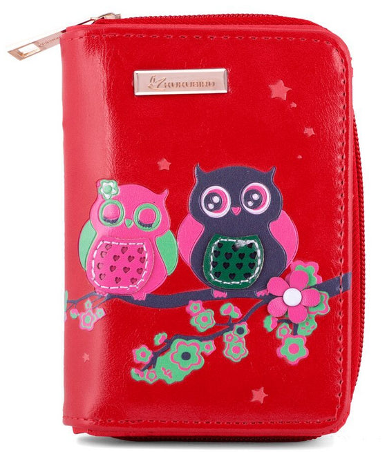 Kukubird Medium Purse 2 owl's on Branch - Red - Kukubird_UK