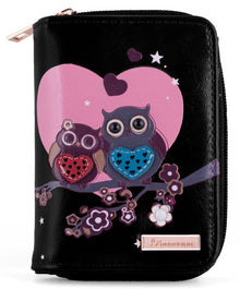 Kukubird Medium Purse 2 owl's love - Black - Kukubird_UK