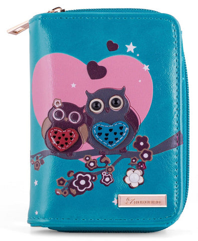 Kukubird Medium Purse 2 owl's love - Blue - Kukubird_uk Leggings, Tights