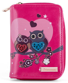 Kukubird Medium Purse 2 owl's love - Fuchsia - Kukubird_UK