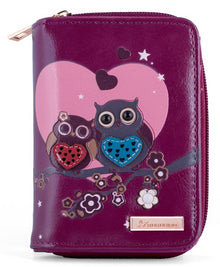Kukubird Medium Purse 2 owl's love - Purple - Kukubird_UK