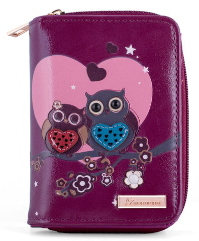 Kukubird Medium Purse 2 owl's love - Purple - Kukubird_uk Leggings, Tights