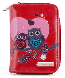 Kukubird Medium Purse 2 owl's love - Red - Kukubird_UK