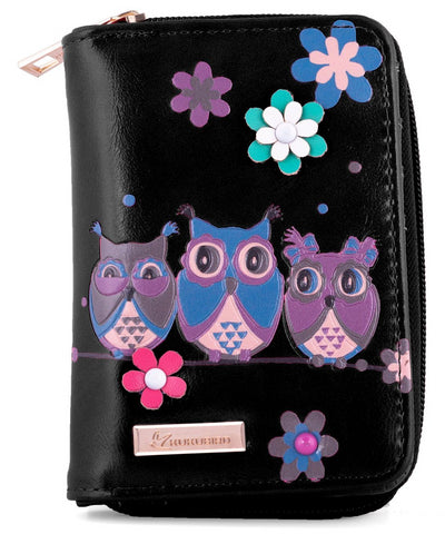 Kukubird Medium Purse 3 owl's floral - Black - Kukubird_uk Leggings, Tights
