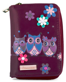 Kukubird Medium Purse 3 owl's floral - Purple - Kukubird_UK